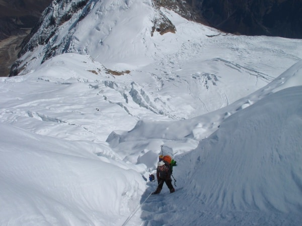 Load carrying to Camp 2 on Manaslu in the Nepal himalaya