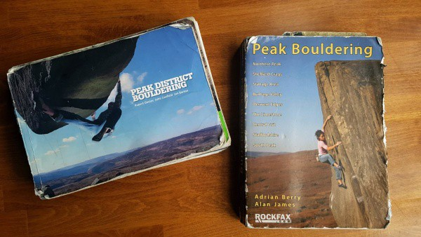 Front cover of two Peak District Bouldering Guidebooks for comparison. Rockfax's Peak Bouldering and Vertebrate Publishing's Peak District Bouldering