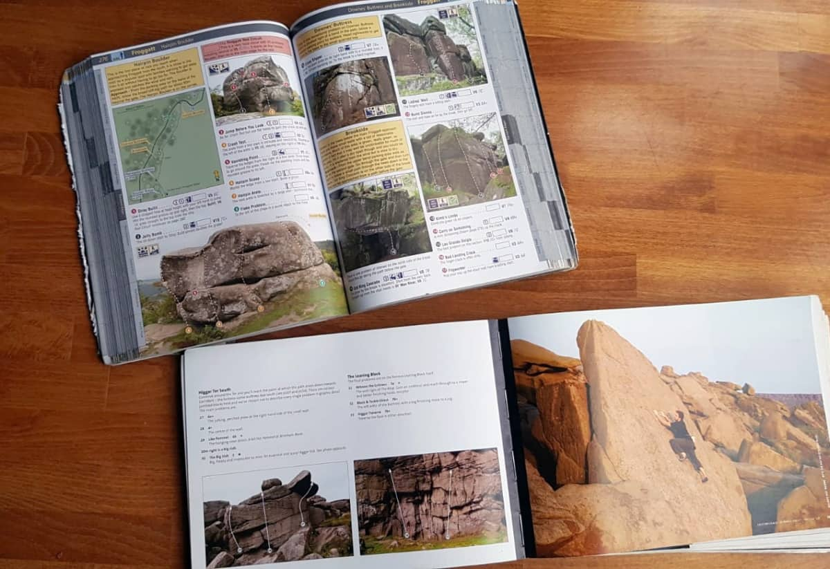 Comparison of the layout of Peak District Bouldering Guidebooks