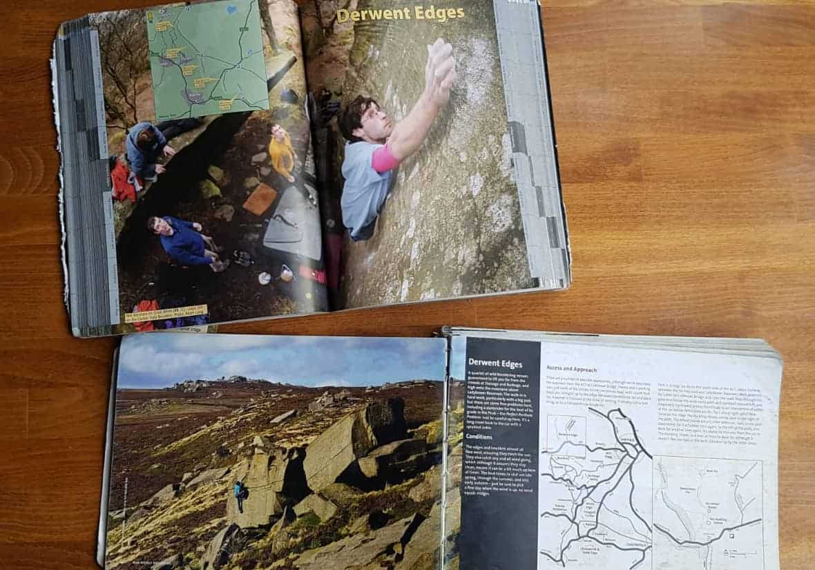 Comparison of the subsection pages of Peak Bouldering and Peak District Bouldering